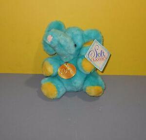 "1995 Geoffrey Toys r Us Soft Classics Teal & Yellow 8"" Stuffed Plush Animal"