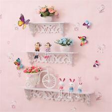 White Wooden Wall Shelf Display Hanging Rack Storage Goods Holder Home Decor^《ZT