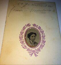 Antique Civil War American Fashion Woman! Jewelry & Matting Tintype Photo! Info