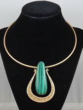 Robert Lee Morris Worn Gold Green Stone Sculptural Drop Wire Collar Necklace #2