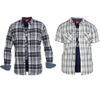 D555 Mens Big King Sizes Shirt & T Shirt Combo Sets Checked Tartan Fashion Tops