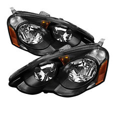 02-04 Acura RSX DC5 DC JDM Black Headlights w/ Amber Reflector Type S Base K20