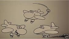 Cartoon Airplanes Wall Vinyl Decal Sticker