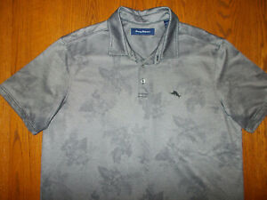 TOMMY BAHAMA SHORT SLEEVE GRAY FLORAL POLO SHIRT MENS XL EXCELLENT CONDITION