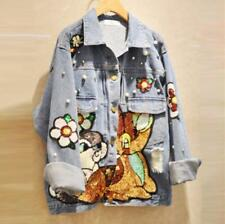 Women Jacket Patch denim Jeans pearl print spring Jackets coat trench outwear