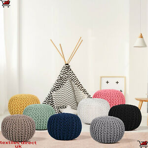 Hand Made Cotton Knitted Moroccan Braided Beans Pouffe Foot Stool XMAS 2021 Gift