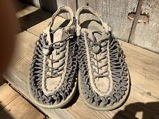 EUC MENS 11 KEEN UNEEK Woven Comfort Sandals Water Shoes Hiking Shoes Beige Gray