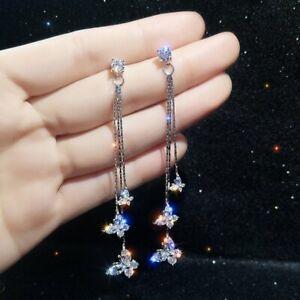 Fashion Butterfly Long Tassel Crystal Earrings Women Drop Dangle Ear Stud Gifts