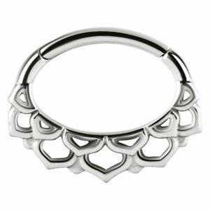 1.2mm Steel Hinged / Clicker Ring + Oval Lotus Blossom ~ Septum, Daith Piercing