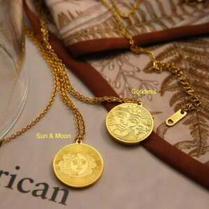 18k Real Gold Plated Star Moon Goddess Chunky Coin Pendant Necklace Zara Style