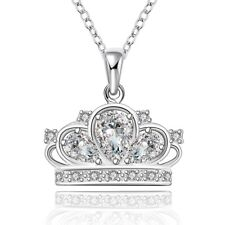 Princess Crown Charm Necklace - 18K White Gold Plated - *NEW* Queen Crown Charm
