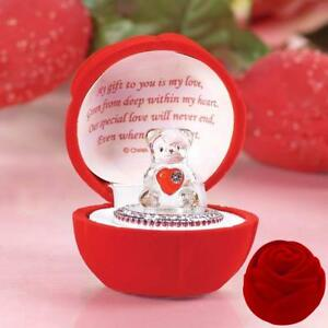 Crystal Glass Teddy Bear with a Heart - in Poem Box, for Someone Special