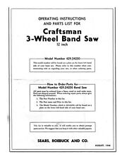"1946 Craftsman 429.24250  3-Wheel 12"" Band Saw Instructions"