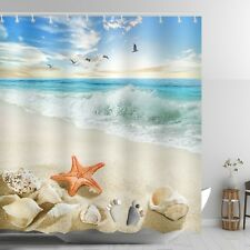 Beach Themed Shower Curtain Red Starfish Ankle Stone Sandy Coastal Scene Decor