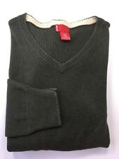 Levi's Men V Neck Sweater Dark Green Large Cotton