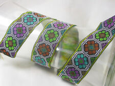 "1.5/16"" (34mm) Hexagonal Floral Jacquard Ribbon x 5.1/4 yds"