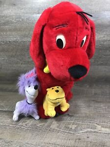 """Clifford the Big Red Dog and Friends 20"""" Plush Cleo & T-Bone 2002 Scholastic"""