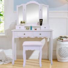 White Vanity Makeup Dressing Table Set W Stool 4 Drawer Mirror Wood Desk