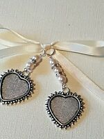 Stunning Double Bridal Memory Bouquet Charm silver heart-shaped Locket Gift Bag