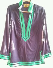 Tory Burch Tory Tunic Retail $275 Navy Blue with Green Trim Size 8