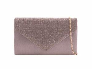 Women's Diamante Clutch Bag Wedding Evening Handbag Prom H2646