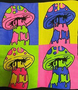 Psychedelic Mushrooms - Trippy LSD Melting Shrooms - Mens Black T Shirt (XL)