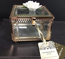 Cynthia Rowley Square Mirrored Jewelry Box With Flower On Top( NWT)