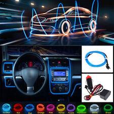 2M Blue Car LED EL Wire Light Strip Interior Atmosphere Glow Neon Lamp Decor