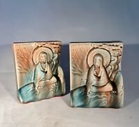 Vintage Art Pottery Bookends-USA-Asian Design-Excellent Condition-Blue/Pink