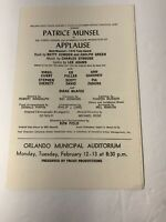 "Vintage ""Applause"" Playbill Program ORLANDO Municipal Auditorium Patrice Munsel"