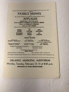 "Vintage ""Applause"" Playbill Program ORLANDO Municipal Auditorium Patrice Munsel"
