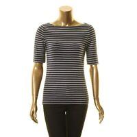 LAUREN RALPH LAUREN NEW Women's Striped Boat Neck Casual Shirt Top TEDO