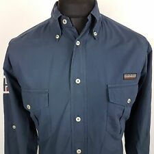 Napapijri Mens Outdoor Shirt MEDIUM Long Sleeve Blue Regular Fit No Pattern
