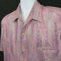 Mod Disco Shirt Big Collar Pink Purple 70s Size L Vintage SS Retro Polyester