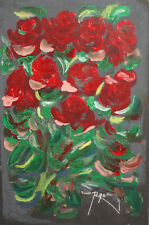 1990 EXPRESSIONIST FLORAL OIL PAINTING SIGNED