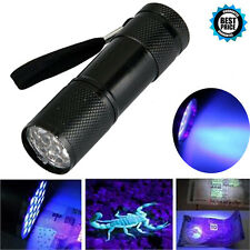 Mini Aluminum UV ULTRA VIOLET 9 LED FLASHLIGHT BLACKLIGHT Torch Light Lamp AUID