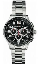 Men's Nautica A25521MNB Black Dial Chronograph With Push Button Deployment Clasp