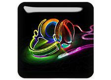 "Hi Fi Psychedelic Headphones 1""x1"" Chrome Domed Case Badge / Sticker Logo"