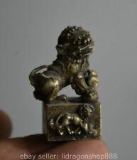 """1,6 """"vieille Chine Miao Silver Dynasty Fu Statue de la bête de lion de sceau"""