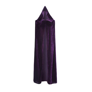 Medieval Velvet Hooded Cloak Wicca Long Robe Halloween Witchcraft Larp Capes US