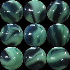 "Alley Agate Ravenswood Marble Swirl Blue Green Marbles .593"" Near Mint"