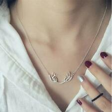 Sterling Silver Deer Horn Antler Animal Pendant Charm Chain Necklace