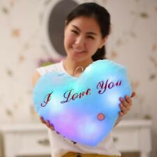 LED Light Up Heart Shape Cushion Pillow Plush Stuffed Toys Glow Valantines Gift