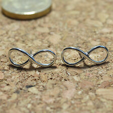 Rhodium Plated Shiny Polished Infinity Stud Earrings Gift