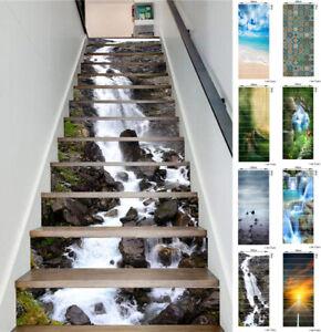 New 3D DIY 13pcs Stair Sticker Photo Mural PVC Decal Scenery Wallpaper Art Decor