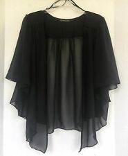 Womens BLACK Plus Size 6X Chiffon Cardigan Bolero Shrug Top