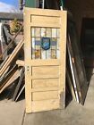 An587 Antique Pine Stained Glass Entry Door 32 X 78 X 1 3/8