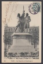 France Sc 113 on 1906 Lafayettte & Washington Statue Real Photo PPC