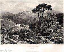 Roma:Villa Madama.Panorama.Monte Mario.Acciaio.Stampa Antica + Passepartout.1836