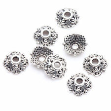 100PCS Tibet Silver Flower Spacer Bead Caps Carved Bangle DIY Jewelry Making